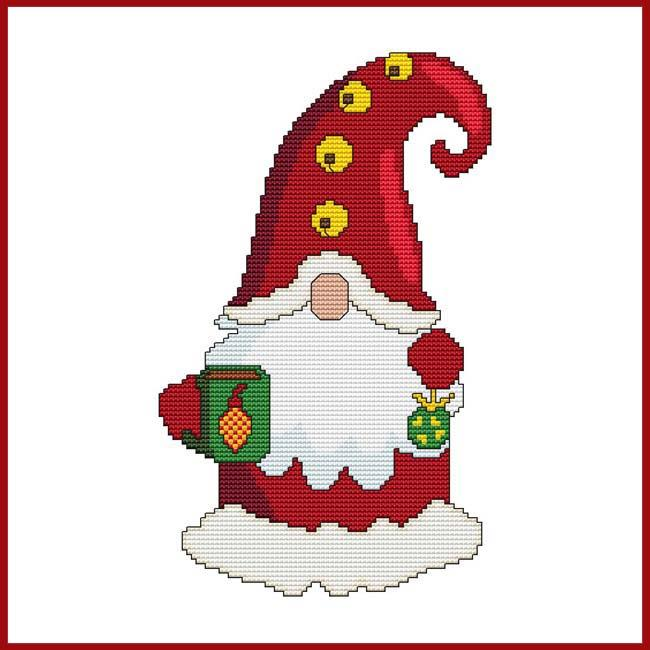 SANTA GNOME WITH MUG & ORNAMENT Cross Stitch Pattern