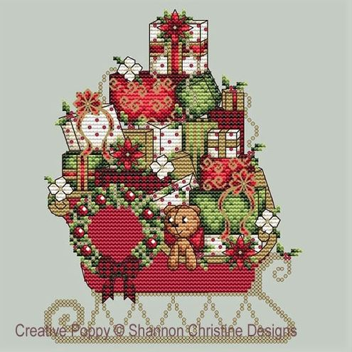 Shannon Christine SANTA'S SLEIGH Cross Stitch Pattern