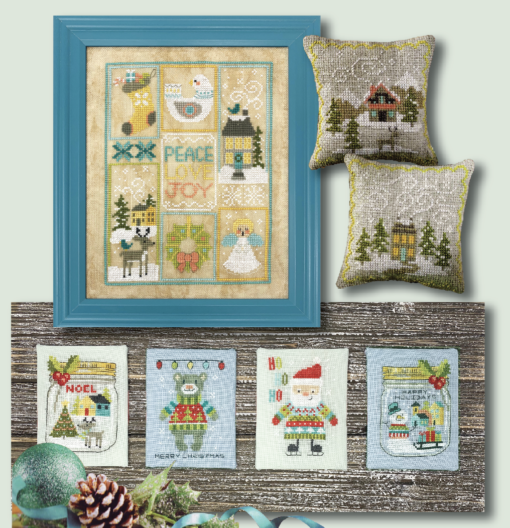 Tiny Modernist SCANDI CHRISTMAS SET Cross Stitch Pattern - 7 Designs
