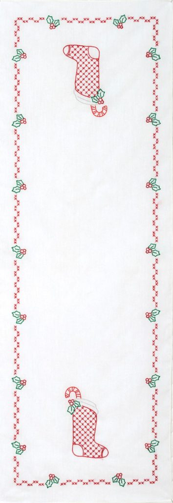 Jack Dempsey CHRISTMAS STOCKING Table Runner Stamped Cross Stitch