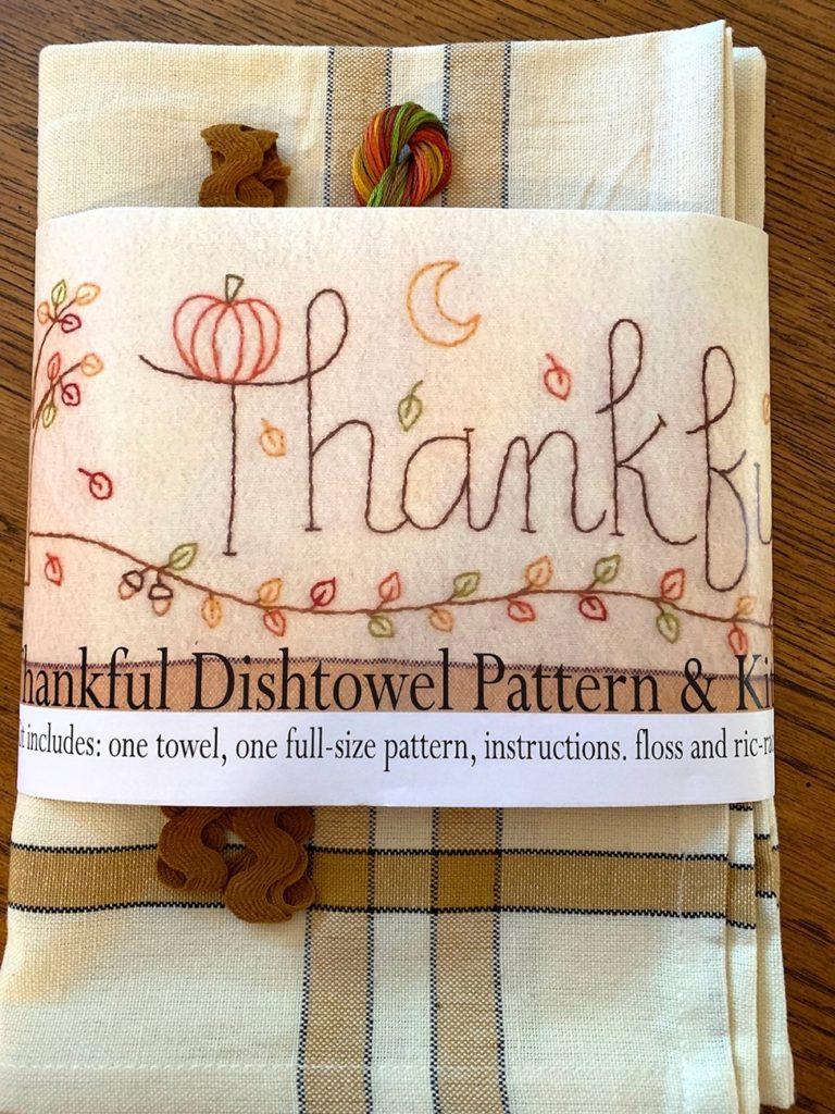 Bareroots THANKFUL Hand Embroidery Dishtowel Kit