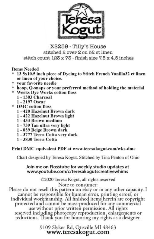 Teresa Kogut TILLY'S HOUSE Cross Stitch Pattern