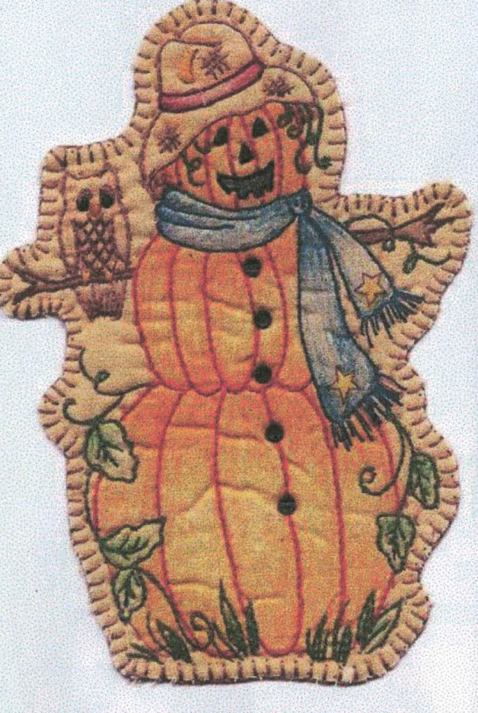 Chickadee Hollow Designs Vintage AUTUMN PUMPKIN LADY Hand Embroidery Pattern