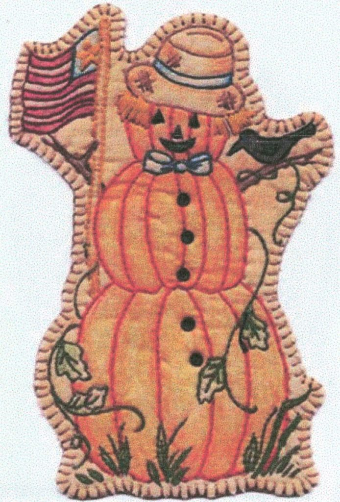 Chickadee Hollow Designs Vintage AUTUMN PUMPKIN MAN Hand Embroidery Pattern