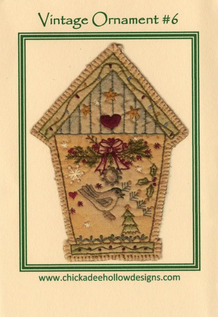 Chickadee Hollow Designs Vintage CHRISTMAS ORNAMENT BIRDHOUSE Hand Embroidery Pattern