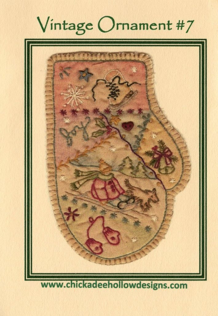 Chickadee Hollow Designs Vintage CHRISTMAS ORNAMENT MITTEN Hand Embroidery Pattern