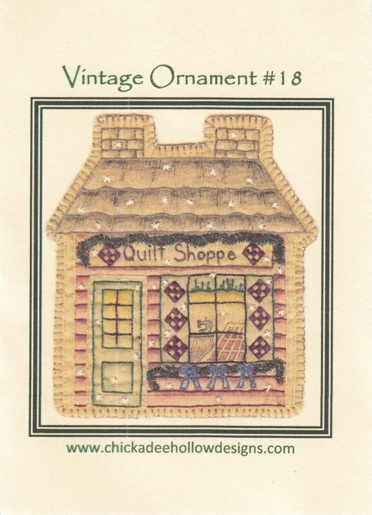 Chickadee Hollow Designs Vintage CHRISTMAS ORNAMENT QUILT Shop Hand Embroidery Pattern
