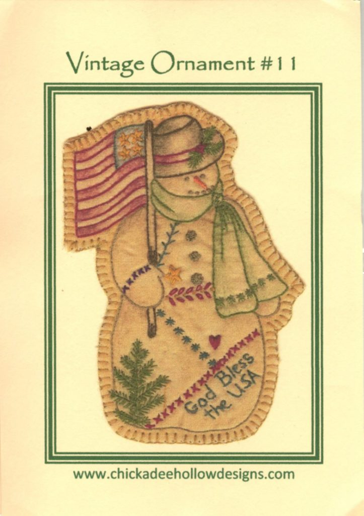 Chickadee Hollow Designs Vintage CHRISTMAS ORNAMENT SNOWMAN Hand Embroidery Pattern