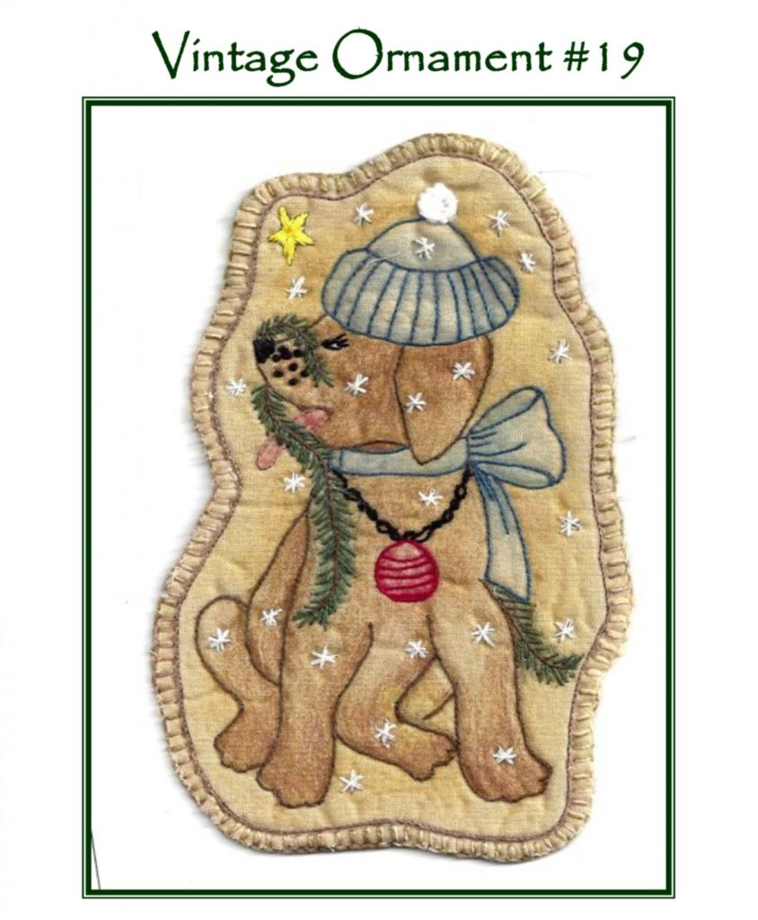 Chickadee Hollow Designs Vintage CHRISTMAS SANTA'S PUP Hand Embroidery Pattern