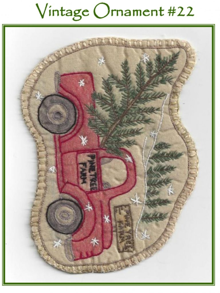 Chickadee Hollow Designs Vintage CHRISTMAS SANTA'S TRUCK Hand Embroidery Pattern