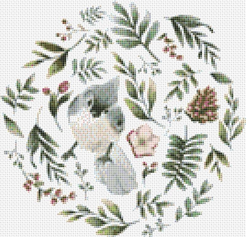 X Squared Wild Animals With Flowers and Leaves - Bird