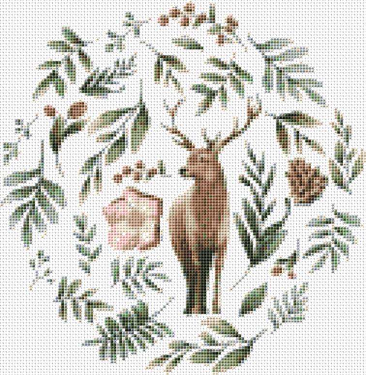 Wild Animals with Flowers and Leaves Deer