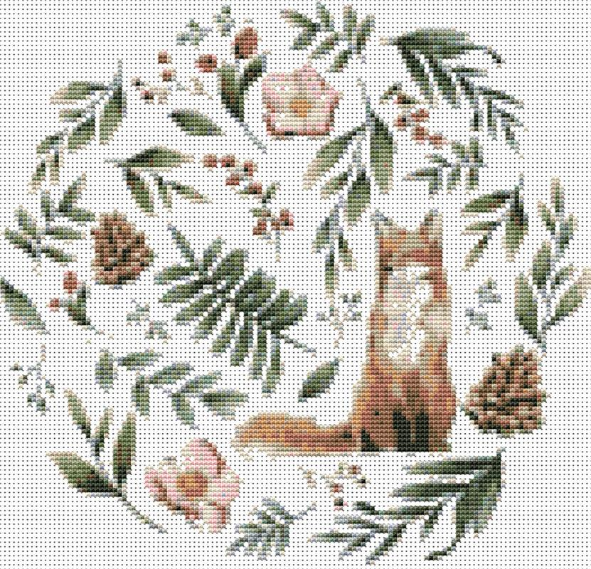 Wild Animals with Flowers and Leaves Fox