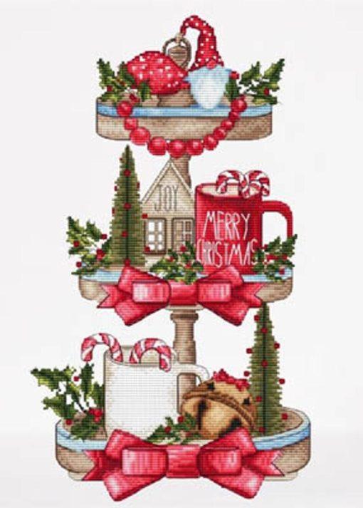 Les Petites Croix De Lucie CHRISTMAS TRAY Cross Stitch Pattern