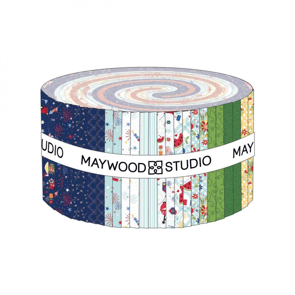 """Kimberbell for Maywood Studio RED WHITE & BlOOM 2.5"""" STRIPES"""