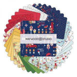 Kimberbell for Maywood Studio RED WHITE & BLOOM 5″ STACKER – PRE-ORDER