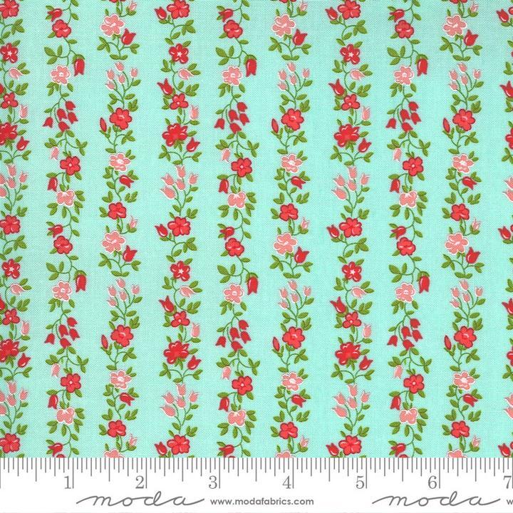 Sunday Stroll by Bonnie & Camille for Moda Fabrics - Aqua Floral Vine Yardage