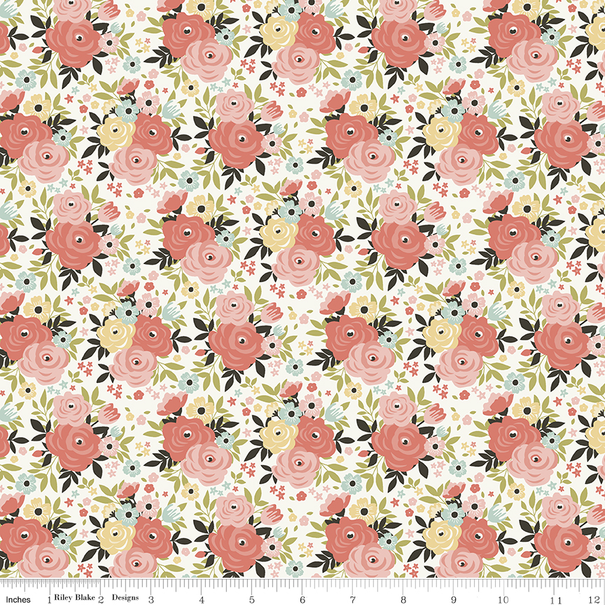 Joy in the Journey FLORAL CREAM by Riley Blake Designs