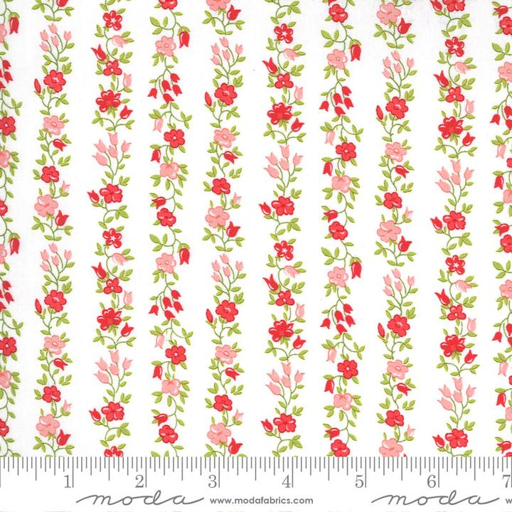 Sunday Stroll by Bonnie & Camille for Moda Fabrics - Pink Floral Vine Yardage