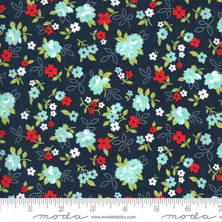 Sunday Stroll by Bonnie & Camille for Moda Fabrics - Small White Navy Floral Yardage