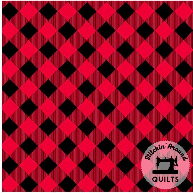 Priscilla's Pretty Plaids GINGHAM COTTON RED BLACK YARDAGE - Henry Glass Fabrics