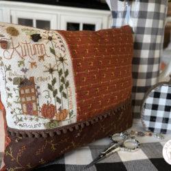 Autumn Notes Cross Stitch Pillow